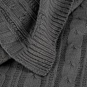 Deka tmavě šedá s pletenými copy 130x 170cm-Leneadekor.cz