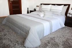 Přehoz na postel bílo-šedý 45D+2 povlaky na polštáře