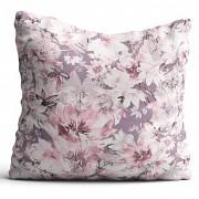 Moderní polštář-Lila s květy -Leneadekor