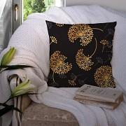 Moderní polštář-Černý a zlaté pampelišky -Leneadekor