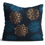 Sváteční polštář-Modrý s vločkami -Leneadekor