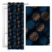 Sváteční závěs-Modrý s vločkami 140/250cm-Leneadekor