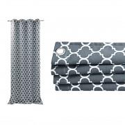 Závěs Maroco tmavě šedý s bílým vzorem-Leneadekor