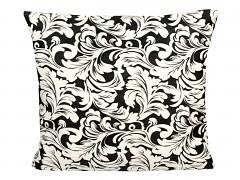 Dekorativní povlak na polštářek -bílé listy na černém podkladě