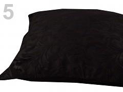 Dekorativní povlak na polštářek -černé plyšové listy na černém podkladě