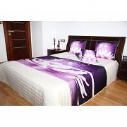 Přehoz na postel fialový vzor
