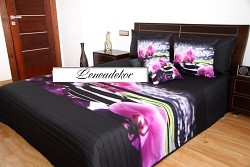 "Přehoz na postel 41M-""3D"" -220x240cm-černý podklad"