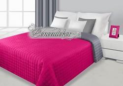 Přehoz na postel prošívaný NG4 170x210cm ocelová-tm.růžová