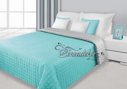 Přehoz na postel prošívaný NG14 170x210cm stříbrná-mátová