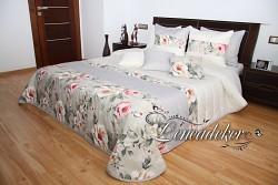 Přehoz na postel 44A krémovo-šedý-rozměry š.220cmx d.240cm(včetně 2ks povlaků na polštář 50x60cm)