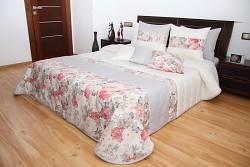 Přehoz na postel 44B s květy krémovo-šedý
