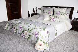 Přehoz na postel 44C s květy krémovo-šedý