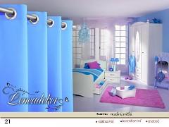 Závěs s dekoračními kruhy světle modrý vzor21-set 2ks