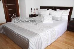 Přehoz na postel bílo stříbrný