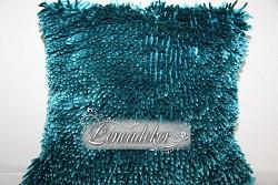 Dekorační polštář 40x40cm  SHAGGY tyrkysový-povlak
