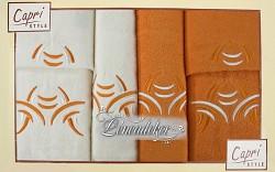 Ručníky dárková sada 6RC6 krémové a oranžové 6-dílný