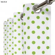 Závěs  bílý se zelenými puntíky
