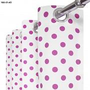 Závěs  bílý s tmavě růžovými puntíky
