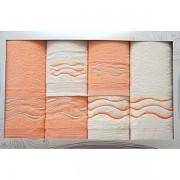 Sada 6 ručníků lososovo-krémová