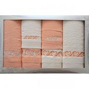 Sada 6 ručníků lososovo-krémová č.47