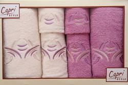 6-dílná sada ručníků a osušek 6RC33- krémové a růžové