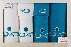6-dílná sada ručníků a osušek RC6-44-bílé a tyrkysové