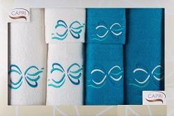 6-dílná sada ručníků a osušek RC6-45-bílé a tyrkysové