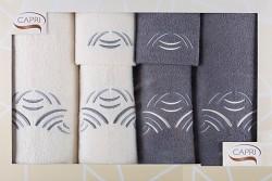 6-dílná sada ručníků a osušek RC6-48-krémové a grafitové