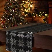 Vánoční běhoun na stůl černý