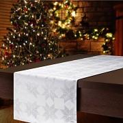 Vánoční běhoun na stůl stříbrný