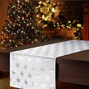 Vánoční běhoun na stůl stříbrný s hvězdami