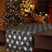 Vánoční běhoun na stůl černý s hvězdami