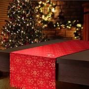 Vánoční běhoun na stůl červený