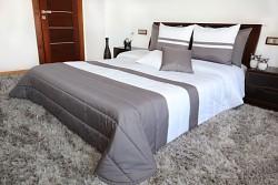 Přehoz na postel bílo-grafitový 45G