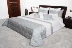 Přehoz na postel bílý se sříbrnou a modrou 44E