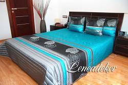 Luxusní přehoz na postel tyrkysový 26A 220/240