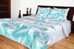 Přehoz na postel šedý s tyrkysovými listy