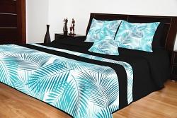 Přehoz na postel černý s tyrkysovými listy