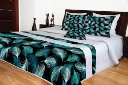Přehoz na postel šedý s tyrkysovými peříčky