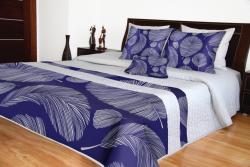 Přehoz přes postel šedý s modrým potiskem