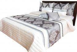 Přehoz na postel NM44T krémovo-grafitový se zlatým ornamentem