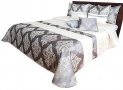Přehoz na postel NM44U krémovo-grafitový se zlatým ornamentem