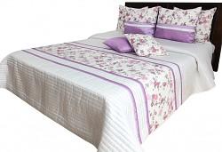 Přehoz na postel NM49C krémovo-fialkový