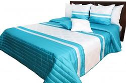 Přehoz na postel NM49B tyrkysovo-bílý