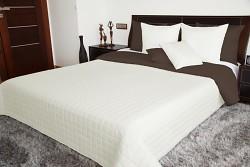 Přehoz na postel světle krémový/hnědý