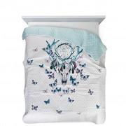 Přehoz na postel lapač snů s motýlky-170x210cm