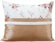 Povlak na polštář kakaový s květy 28i-02