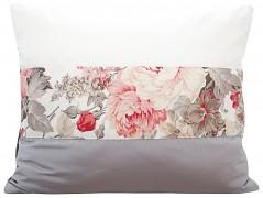 Povlak na polštář krémovo-šedý s květy 44B-02