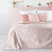 Přehoz na postel růžový sametový s motýlky