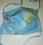 Rouška dětská bavlněná- modrá s medvídkem a hvězdičkami